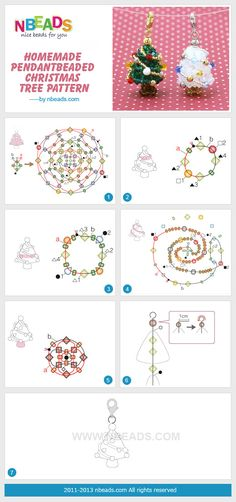 homemade pendant-beaded christmas tree pattern