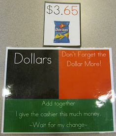 Dollar More - Money skills with visual supports. Free printable on blog.