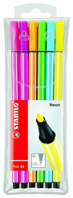 Stabilo Pen 68 Coloring Felt-tip Marker Pen, 1 mm - Neon Wallet Set Stabilo Pen 68, Stabilo Point, Stabilo Boss, Scrapbook Supplies, Art Supplies, Felt Tip Markers, Cute School Supplies, School Stationery, Neon