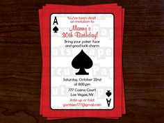 Printable DIY Red and Black Casino Night by PapercutsPartyShop