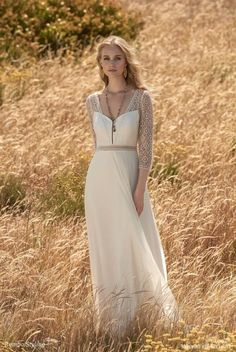 Rembo Styling 2018 bridal Dress with a high waist and three quarter sleeves sleeves in all lace