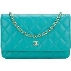 Pre-Owned Chanel Turquoise Quilted Lambskin Classic Wallet On Chain... ($3,295) ❤ liked on Polyvore featuring bags, handbags, blue, chain handbags, pre owned handbags, quilted chain purse, chain purse and turquoise handbags