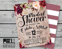 Bohemian Floral Bridal Tea Invitation, Weathered Wood Bridal Shower Invite, Vintage Rustic Wedding, Autumn Brunch, Marsala Peach Burgundy by shopPIXELSTIX on Etsy