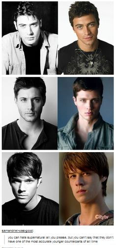 A++++++++ casting right there. Younger Jeffrey Dean Morgan, Jensen Ackles and Jared Padalecki, next to younger John (Matt Cohen), Dean (Brock Kelly) and Sam (Colin ford) YUSS CASTING! Sam Dean, Dean Castiel, Sam Winchester, Winchester Brothers, Misha Collins, Supernatural Fans, Supernatural Outfits, Supernatural Pictures, Jared Padalecki
