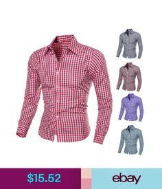 Casual Shirts Stylish Tops Men's Luxury Long Sleeve Casual Check Shirt Slim Fit Dress Shirts #ebay #Fashion