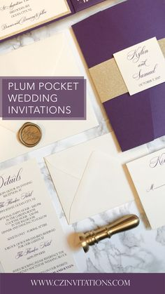 Violet and Gold Glitter Laser Invitation! This Purple lace details gives this set such an elegant look. Add a pop of glitter with the gold mat and belly band. Seal the deal with a custom wax seal! Plum Wedding Invitations, Glitter Invitations, Unique Invitations, Wedding Stationery, Pocket Invitation, Laser Cut Invitation, Invitation Envelopes, Invitation Design, Gold Wedding