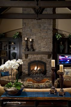 "Gorgeous ""dark"" fireplace"