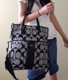 Nwt coach signature stripe black fold over tote crossbody bag purse