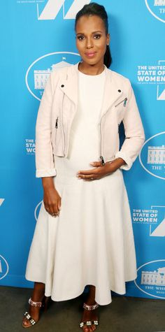 Kerry Washington continued her maternity style streak in another one of her on-point ensembles, arriving at the 'United State of Women' Summit in a bump-skimming ivory dress that she added interest to with a white leather moto jacket and beaded mules.