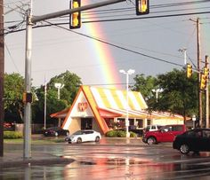 LOL! Texans know Whataburger is golden and Mother Nature agreed when the storm quieted and a double rainbow arched over the city with a location of the mouth-watering chain at the end of it. Photo: Mendoza, Madalyn S, Provided By Sarah LLoyd