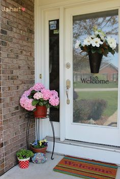 Front door decor- vinyl numbers on planter