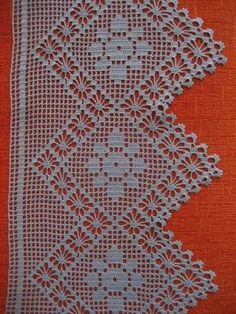 Crochet Home, Crochet Trim, Filet Crochet, Crochet Doilies, Lace Knitting, Baby Knitting Patterns, Crochet Patterns, Crochet Table Topper, Crochet Boarders