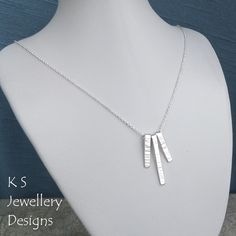 Bark Textured Bars Sterling Silver Necklace - Hand Stamped Metalwork Jewellery £35.00