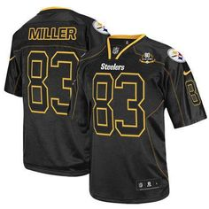 Nike Steelers #83 Heath Miller Lights Out Black With 80TH Patch Men's Embroidered NFL Elite Jersey!$25.00USD Steelers Team, Pittsburgh Steelers Jerseys, Nfl Jerseys, Steeler Nation, Steelers Ravens, Pittsburgh Sports, Football Uniforms, Denver Broncos, Jersey Nike
