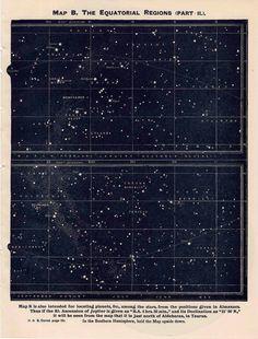 1942 constellations star map original vintage celestial print equatorial regions II.