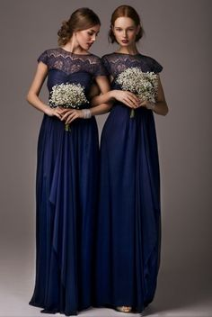 Gorgeous navy bridesmaid's dresses from http://www.annacampbell.com...
