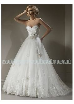 Organza Sweetheart Neckline with Rouched Bodice in A line Skirt 2011 Hot Sell Strapless Wedding Dress WM-0406
