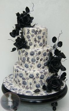 Black Roses - a Hand-Painted Cake - by MadHouseBakes @ CakesDecor.com - cake decorating website