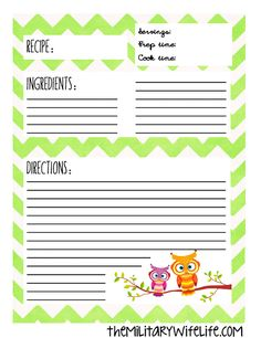 owl recipe cards printable 4x6 personalized by. Black Bedroom Furniture Sets. Home Design Ideas