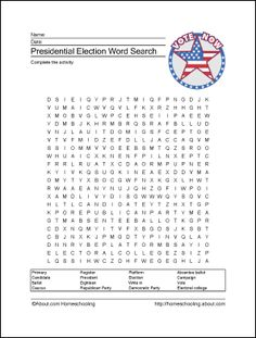 Presidential Election Printables: Presidential Election Wordsearch. There are other worksheets too.