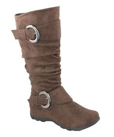 Take a look at this Brown Double Buckle Slouch Boot by Anna Shoes on #zulily today!