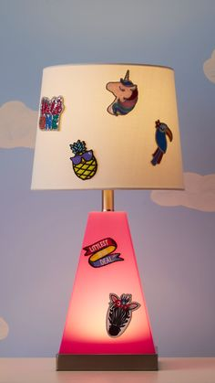 Day or night, this lamp-nightlight duo is a great go-to for any kid's room. Plus, stick-on patches make it even more fun.