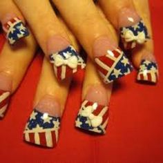 Red white & blue 3d bow nails
