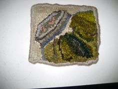 Mom's Pickles a small (6 x 7inches) Hand hooked Mat with Upcycled and Hand Dyed Wools on Etsy, $21.49 CAD