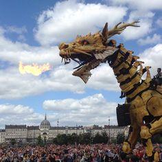 La dragonne LONG MA sur le Parc des Chantiers, avec les Machines de l'Île ! (Août 2015) [NANTES, Loire-Atlantique, Pays de la Loire, FRANCE]