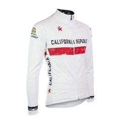 California Republic White Winter/Long-Sleeve Cycling Jersey - The Cool Dude Shop Unique Cycling Jerseys, Cycling Gear, Cycling Outfit, Cycling Clothing, California Republic Flag, Winter Cycling, Cycling Quotes, Bicycle Design, Winter White