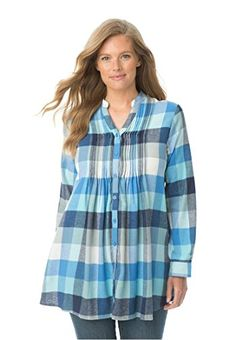 Women's Plus Size Pintuck Flannel Bigshirt Blue Plaid,3X ...