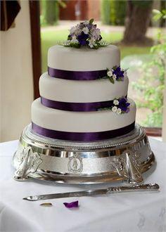 Simple purple ribbon wedding cake