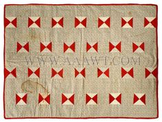 Antique Quilt, Crib Quilt, Bowtie Pattern and Cotton Prints, entire view