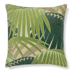 Rousseau Velvet Applique Pillow Cover, Green #williamssonoma