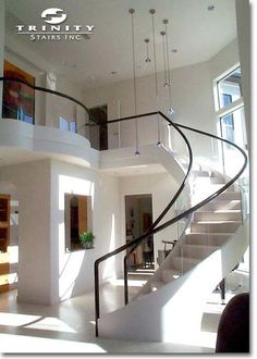 Glass Railing with Metal Border Design for Large Home Stairs