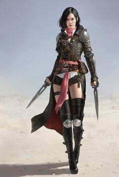 Female Human Dual-Wielder Daggers Leather Armor Rogue Assassin Swashbuckler - Pathfinder PFRPG DND D&D fantasy Fantasy Warrior, Fantasy Rpg, Medieval Fantasy, Fantasy Artwork, Dark Fantasy, Woman Warrior, Female Character Design, Character Concept, Character Art
