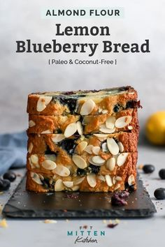 This gluten free easy quick bread recipe is going to be your new favorite. It's seriously the best – it tastes like a lemon blueberry p Paleo Dessert, Dessert Recipes, Paleo Cake Recipes, Healthy Recipes, Cheese Recipes, Soup Recipes, Breakfast Recipes, Quick Bread Recipes, Baking Recipes