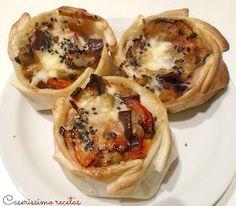 Canastitas mediterráneas | Cocina I Love Food, Good Food, Yummy Food, Dim Sum, Quesadillas, Broccoli Cheese Bites, Quick Recipes, Healthy Recipes, Christmas Dishes