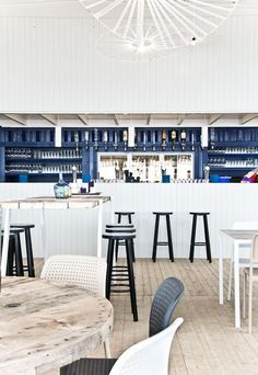 Cool beach club Scheveningen designed by Hubert Crijns Architect… Beach Restaurant Design, White Restaurant, Restaurant Interior Design, Commercial Interior Design, Commercial Interiors, Seafood Restaurant, Architecture Restaurant, Beach Club, Bar Interior