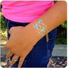 Gold Turquoise Geometric Bracelets Temporary Jewelry by LetsGoGold Temporary Tattoos - #temporarytattoos - metallic gold silver tattoos