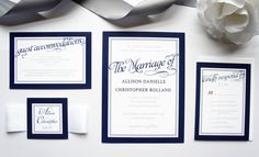 Navy Blue Wedding Invitation - SAMPLE SET