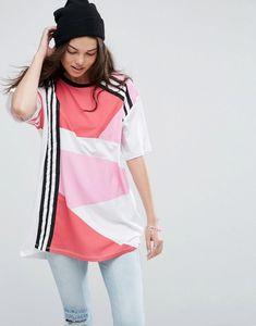 35e78aed0da  Damen ASOS – Super Oversized-T-Shirt mit sportlichem Blockdesign – Rosa