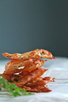 Parmesan wonton crackers - Great for an appetizer or for dips. Cheap recipe too!
