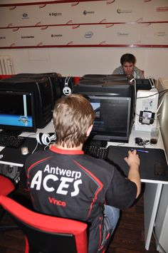 Challenging an Antwerp Aces player.