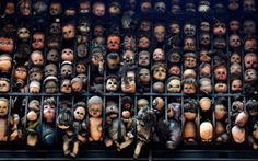 Dolls are seen on the balcony of artist and collector Etanis Gonzalez in Caracas, Venezuela