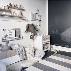 "283 Likes, 5 Comments - Kids Decor / Nursery Decor (@nurserydecor) on Instagram: ""Such a wonderful nursery with a feature blackboard wall via @_honeypunch ❤️"""
