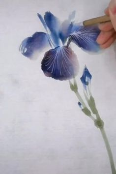 Watercolor Art Lessons, Watercolor Paintings For Beginners, Watercolor Artists, Watercolor Flowers Tutorial, Floral Watercolor, Abstract Watercolor Tutorial, Watercolor Plants, Pen And Watercolor, Chinese Brush
