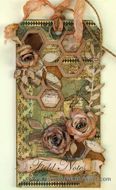 Layers of ink - 12 tags of 2014 April, made with Tim Holtz Sizzix dies, papers and stamps.
