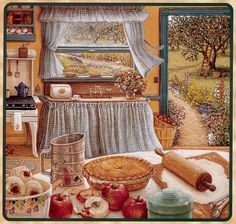 Cross stitch chart - Country kitchen, pie.  Huge chart but this is stunning!