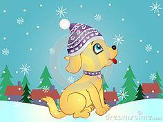 Vector Illustration of Cartoon Puppy in Winter.
